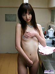 Japanese tramp is getting ready for an evening of fun and much fucking at home