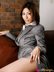Naughty asian secretary sexily reveals her pink lingerie